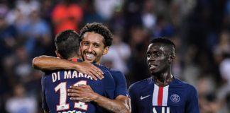 Di Maria, Marquinhos et Idrissa Gueye célébrant un but du PSG