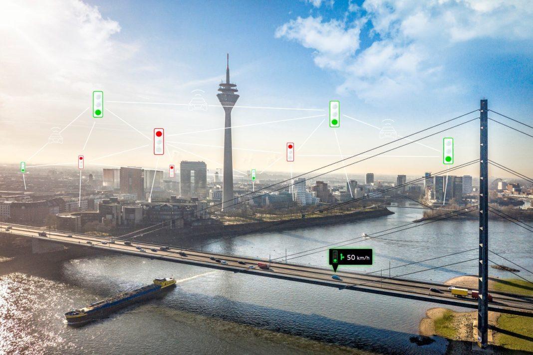Des véhicules Audi communiquent avec les feux tricolores à Düsseldorf, en Allemagne (image d'illustration d'Audi).