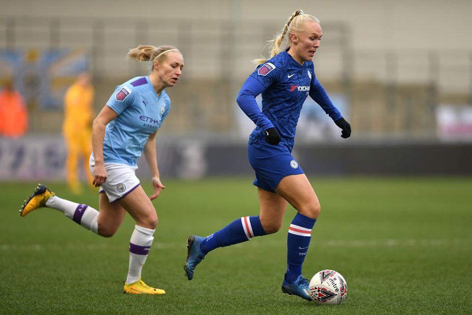 Maria Thorisdottir, joueuse de Chelsea, lors d'un match contre Manchester City.